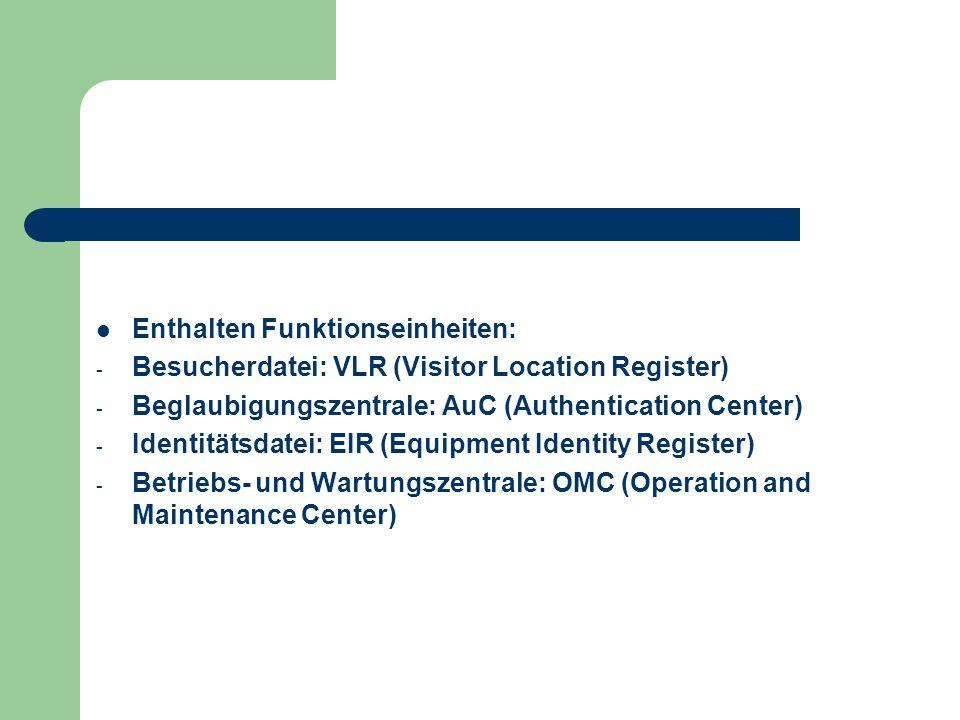 Enthalten Funktionseinheiten: - Besucherdatei: VLR (Visitor Location Register) - Beglaubigungszentrale: AuC (Authentication Center) - Identitätsdatei: