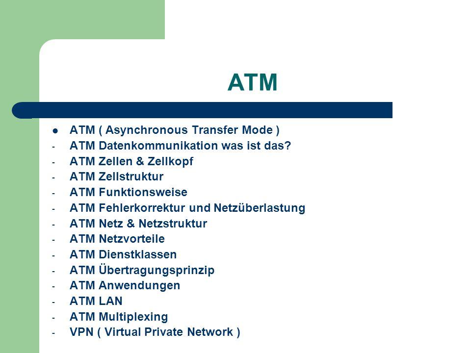 ATM asynchrones Datenübertragungsverfahren für Hochgeschwindigkeitsnetze Daten werden in winzige Pakete von 53 Byte Länge zerlegt kann im WAN und im LAN- (Local Area Network) eingesetzt werden verwendbar als verbindungsloser Service und verbindungsorientiertes Protokoll Übertragung durch virtuelle Verbindung sehr hohe Bandbreiten - von 25 MBit/s über 155 MBit/s bis zu 622 MBit/s