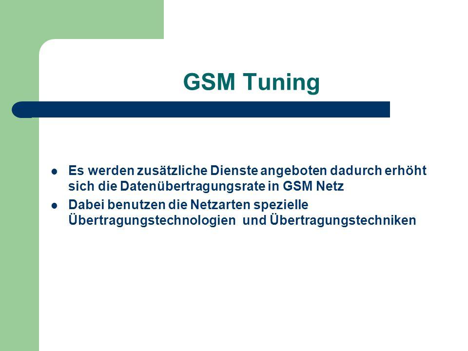 GSM Tuning Es werden zusätzliche Dienste angeboten dadurch erhöht sich die Datenübertragungsrate in GSM Netz Dabei benutzen die Netzarten spezielle Üb