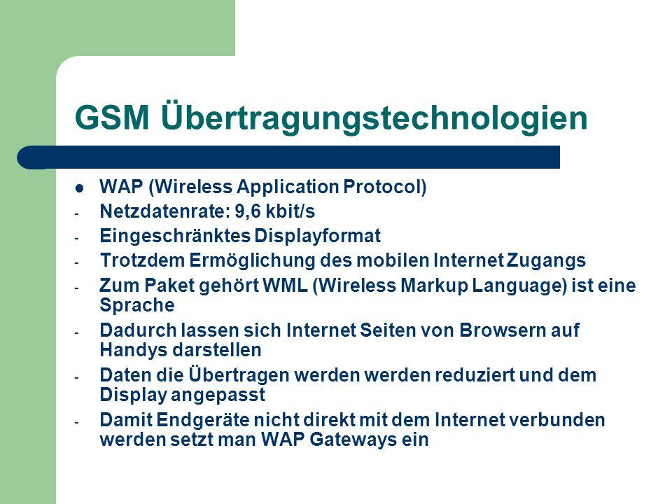 GSM Übertragungstechnologien WAP (Wireless Application Protocol) - Netzdatenrate: 9,6 kbit/s - Eingeschränktes Displayformat - Trotzdem Ermöglichung d