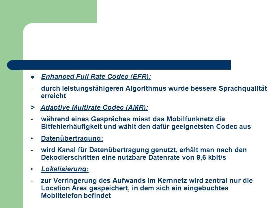 Enhanced Full Rate Codec (EFR): -durch leistungsfähigeren Algorithmus wurde bessere Sprachqualität erreicht > Adaptive Multirate Codec (AMR): -während