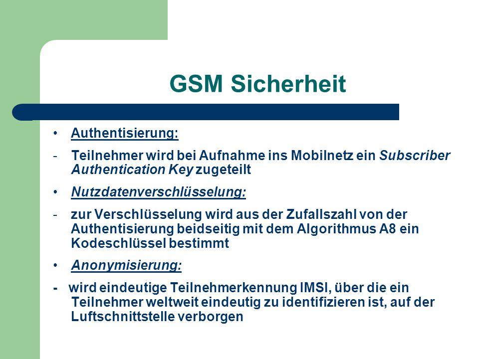 GSM Sicherheit Authentisierung: -Teilnehmer wird bei Aufnahme ins Mobilnetz ein Subscriber Authentication Key zugeteilt Nutzdatenverschlüsselung: -zur