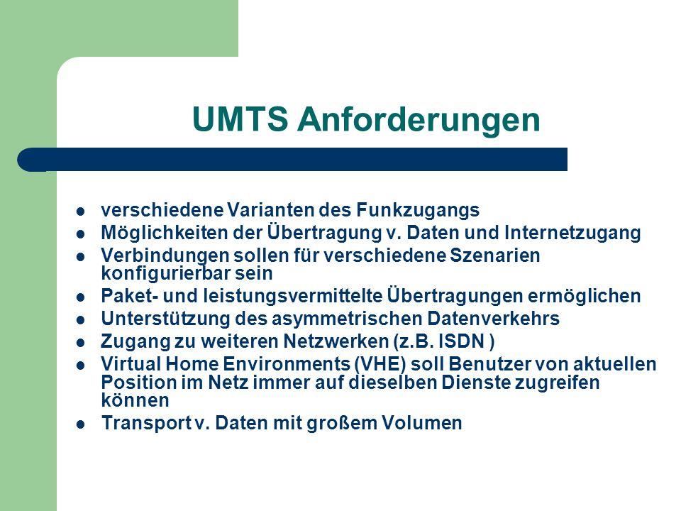 UMTS Anforderungen verschiedene Varianten des Funkzugangs Möglichkeiten der Übertragung v. Daten und Internetzugang Verbindungen sollen für verschiede