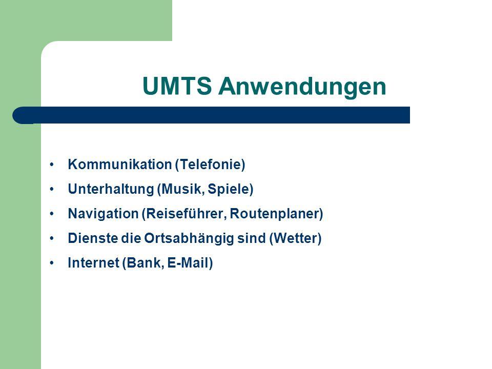 UMTS Anwendungen Kommunikation (Telefonie) Unterhaltung (Musik, Spiele) Navigation (Reiseführer, Routenplaner) Dienste die Ortsabhängig sind (Wetter)