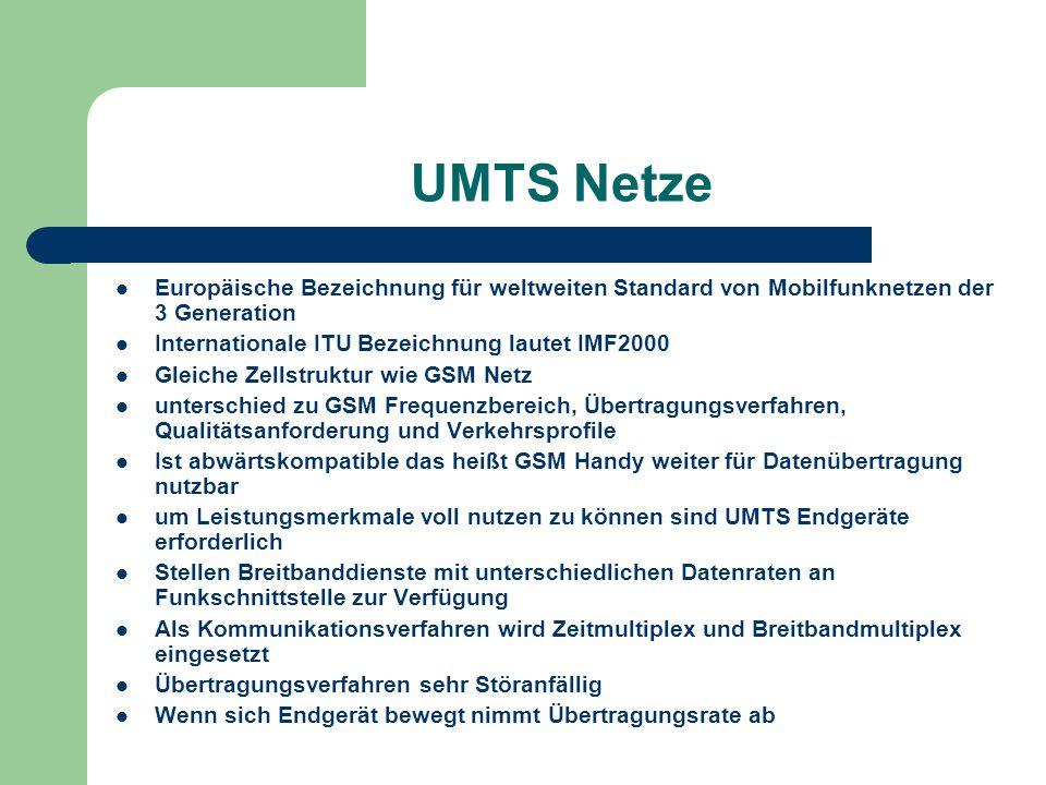 UMTS Netze Europäische Bezeichnung für weltweiten Standard von Mobilfunknetzen der 3 Generation Internationale ITU Bezeichnung lautet IMF2000 Gleiche