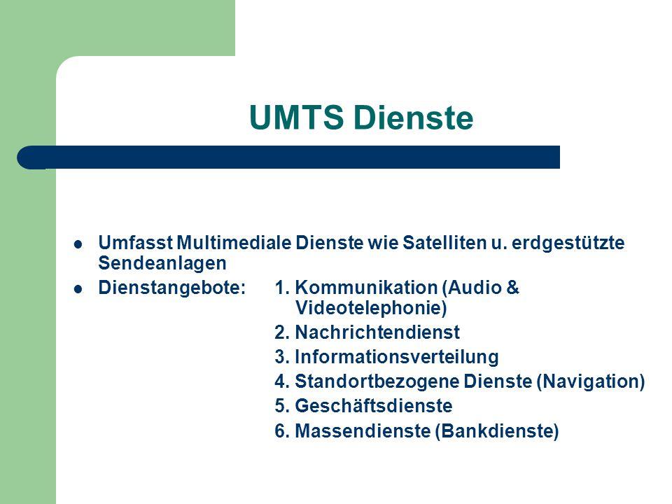 UMTS Dienste Umfasst Multimediale Dienste wie Satelliten u. erdgestützte Sendeanlagen Dienstangebote: 1. Kommunikation (Audio & Videotelephonie) 2. Na