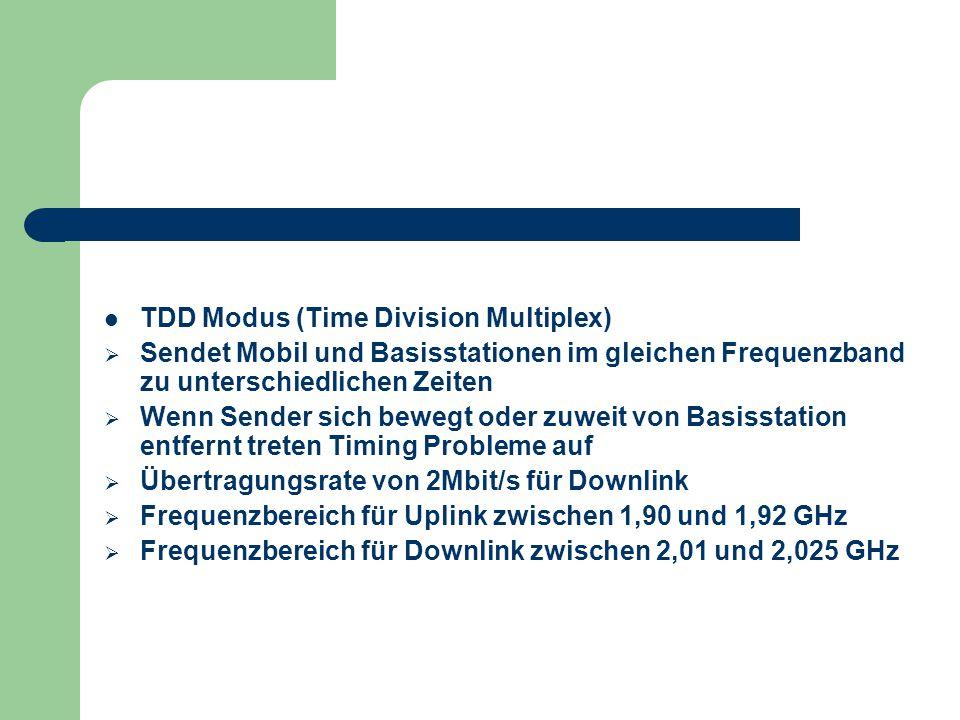 TDD Modus (Time Division Multiplex)  Sendet Mobil und Basisstationen im gleichen Frequenzband zu unterschiedlichen Zeiten  Wenn Sender sich bewegt o
