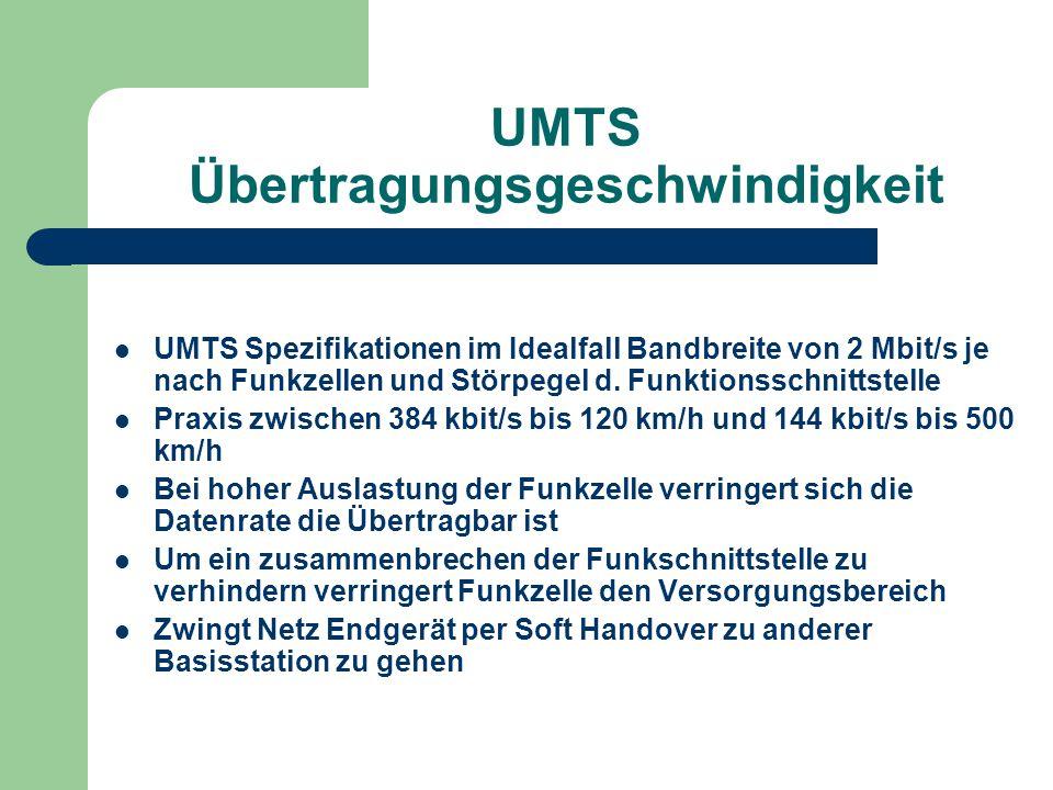 UMTS Übertragungsgeschwindigkeit UMTS Spezifikationen im Idealfall Bandbreite von 2 Mbit/s je nach Funkzellen und Störpegel d. Funktionsschnittstelle