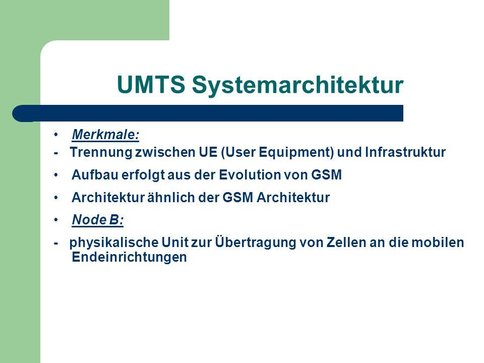 UMTS Systemarchitektur Merkmale: - Trennung zwischen UE (User Equipment) und Infrastruktur Aufbau erfolgt aus der Evolution von GSM Architektur ähnlic