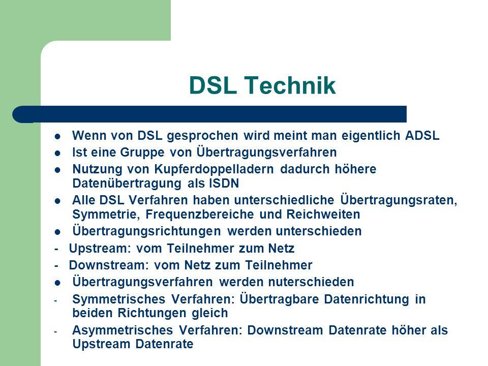 DSL Technik Wenn von DSL gesprochen wird meint man eigentlich ADSL Ist eine Gruppe von Übertragungsverfahren Nutzung von Kupferdoppelladern dadurch hö