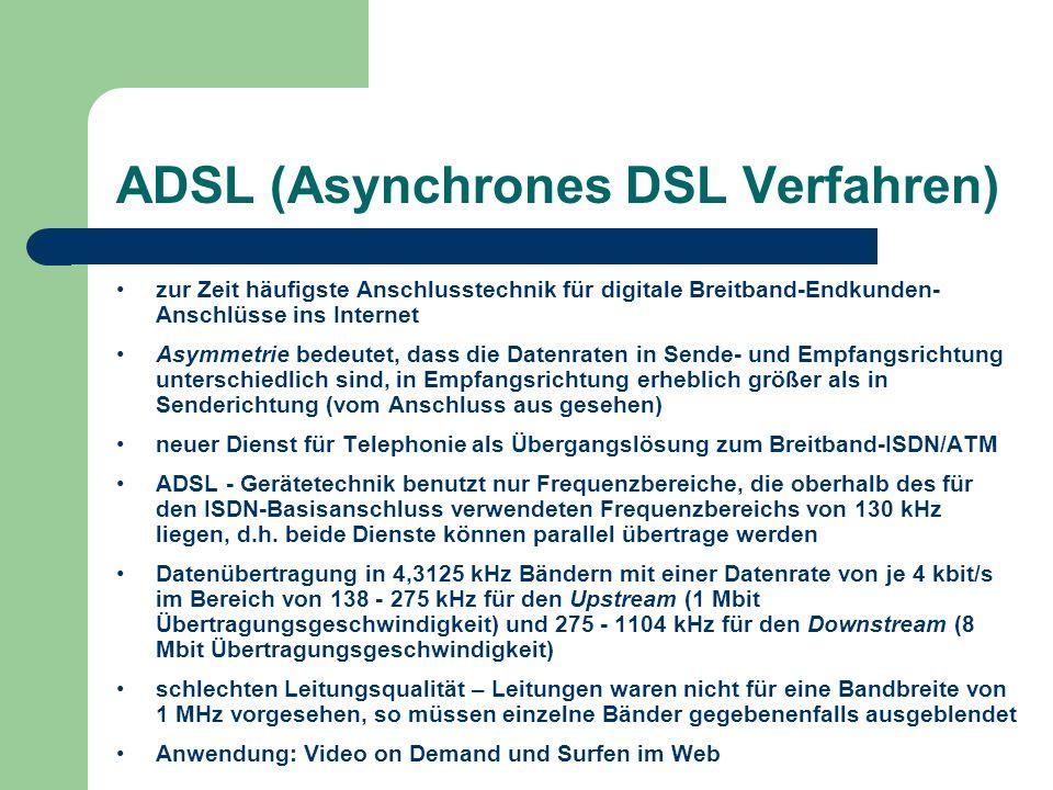 ADSL (Asynchrones DSL Verfahren) zur Zeit häufigste Anschlusstechnik für digitale Breitband-Endkunden- Anschlüsse ins Internet Asymmetrie bedeutet, da