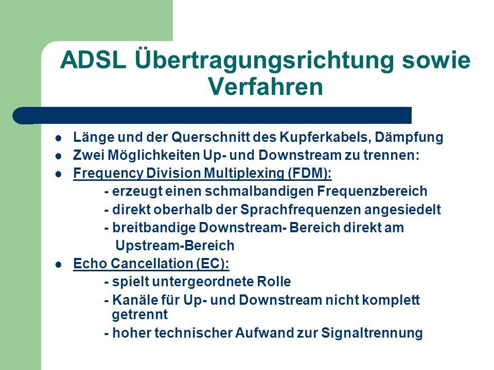 ADSL Übertragungsrichtung sowie Verfahren Länge und der Querschnitt des Kupferkabels, Dämpfung Zwei Möglichkeiten Up- und Downstream zu trennen: Frequ