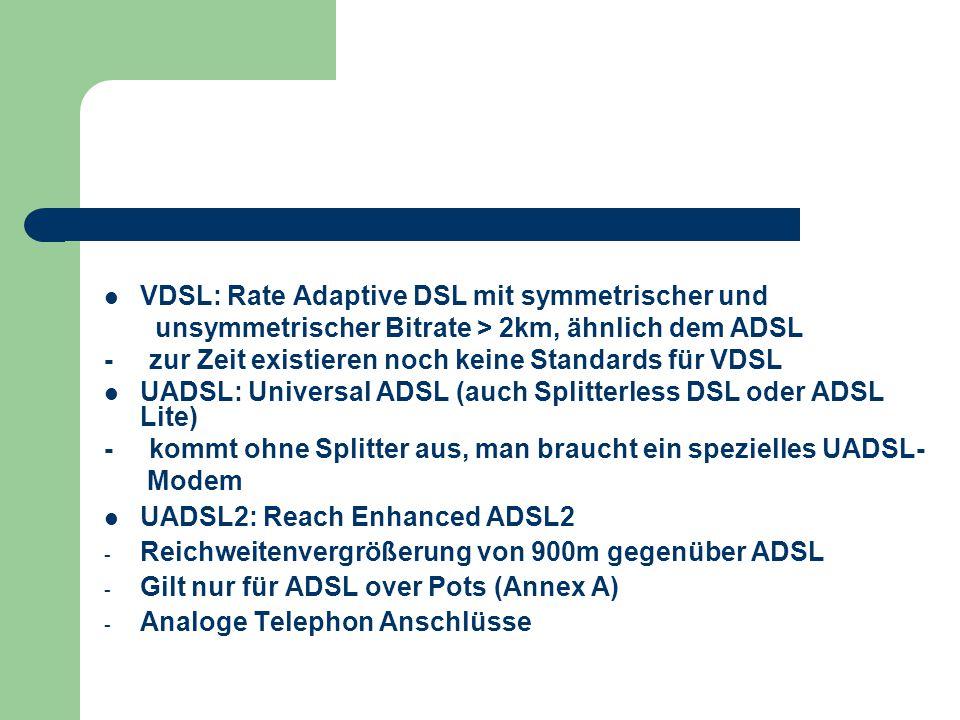 VDSL: Rate Adaptive DSL mit symmetrischer und unsymmetrischer Bitrate > 2km, ähnlich dem ADSL - zur Zeit existieren noch keine Standards für VDSL UADS