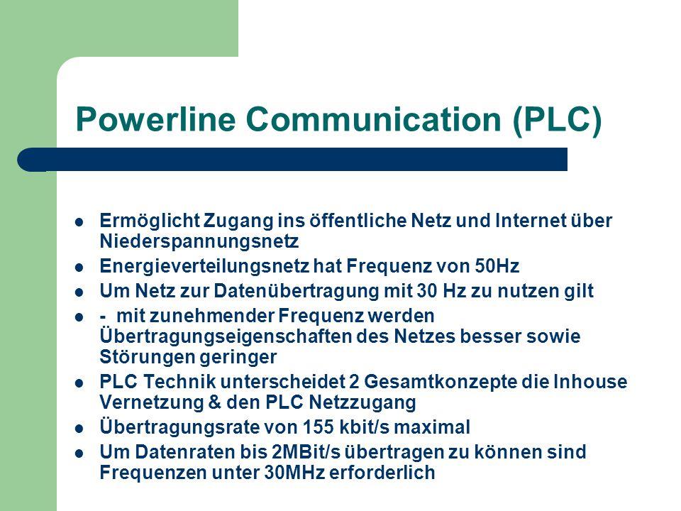 Powerline Communication (PLC) Ermöglicht Zugang ins öffentliche Netz und Internet über Niederspannungsnetz Energieverteilungsnetz hat Frequenz von 50H