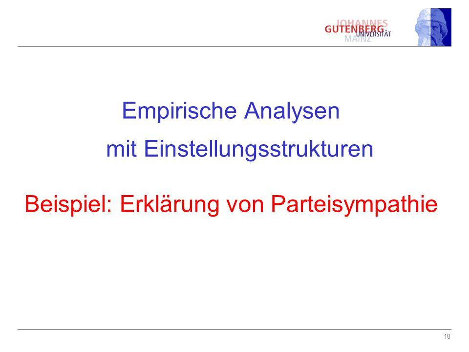 18 Empirische Analysen mit Einstellungsstrukturen Beispiel: Erklärung von Parteisympathie