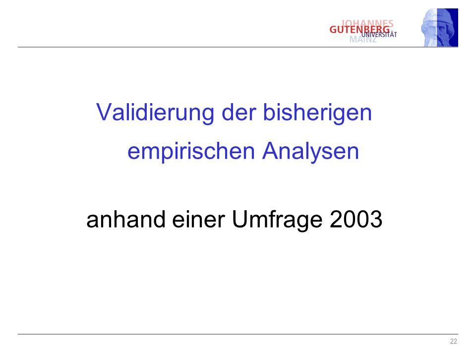 22 Validierung der bisherigen empirischen Analysen anhand einer Umfrage 2003