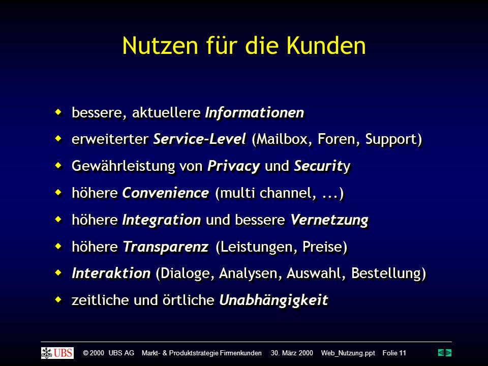  bessere, aktuellere Informationen  erweiterter Service-Level (Mailbox, Foren, Support)  Gewährleistung von Privacy und Security  höhere Convenien