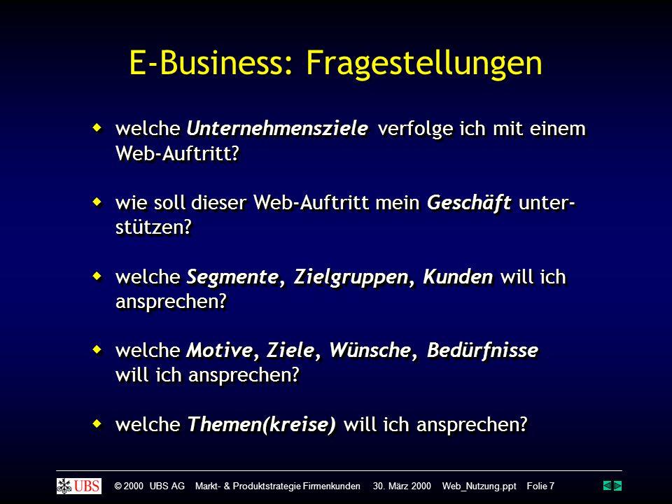 © 2000 UBS AG Markt- & Produktstrategie Firmenkunden 30. März 2000 Web_Nutzung.ppt Folie 7 E-Business: Fragestellungen  welche Unternehmensziele verf