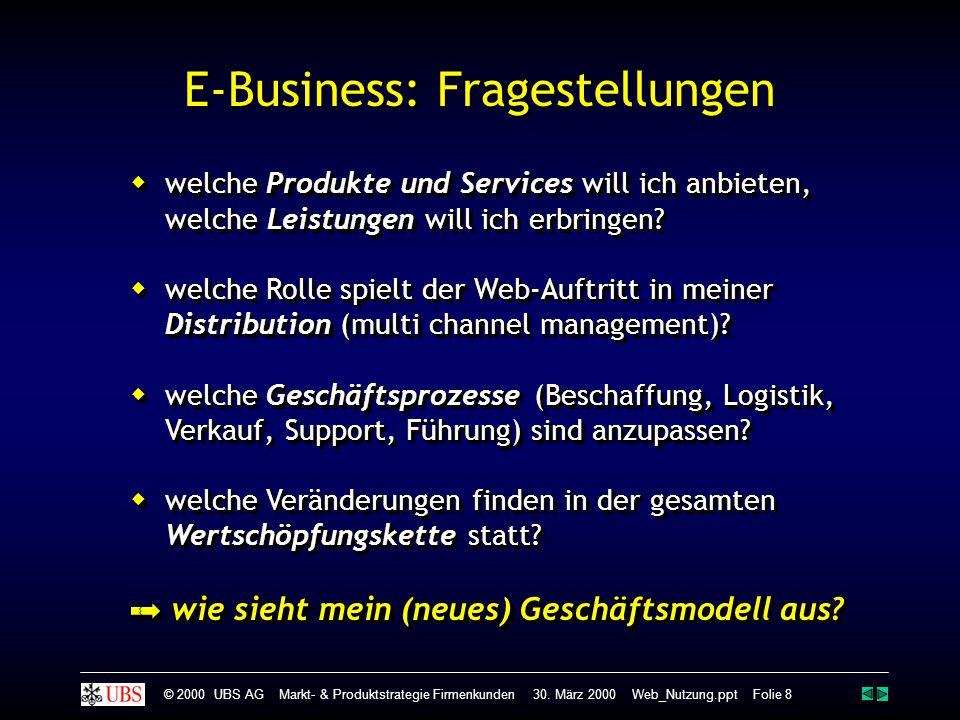 © 2000 UBS AG Markt- & Produktstrategie Firmenkunden 30. März 2000 Web_Nutzung.ppt Folie 8 E-Business: Fragestellungen  welche Produkte und Services