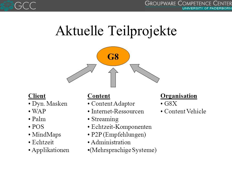Aktuelle Teilprojekte Content Content Adaptor Internet-Ressourcen Streaming Echtzeit-Komponenten P2P (Empfehlungen) Administration (Mehrsprachige Syst