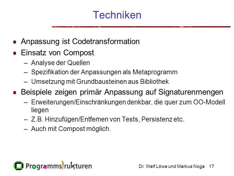Dr. Welf Löwe und Markus Noga17 Techniken Anpassung ist Codetransformation Einsatz von Compost –Analyse der Quellen –Spezifikation der Anpassungen als