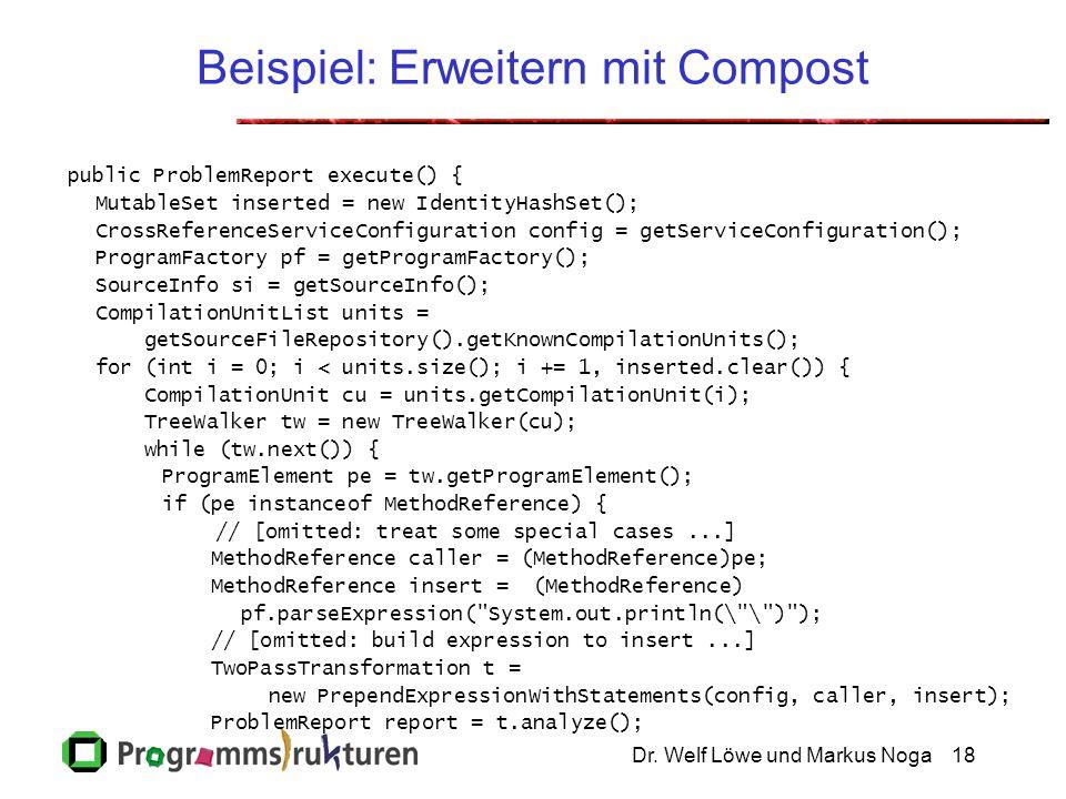 Dr. Welf Löwe und Markus Noga18 Beispiel: Erweitern mit Compost public ProblemReport execute() { MutableSet inserted = new IdentityHashSet(); CrossRef