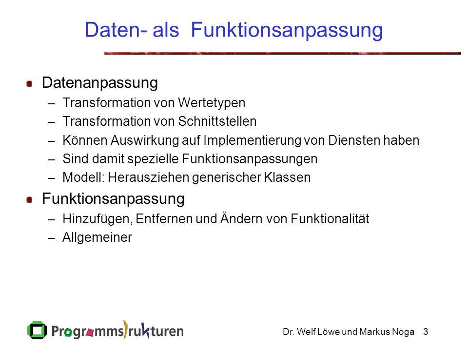 Dr. Welf Löwe und Markus Noga3 Daten- als Funktionsanpassung Datenanpassung –Transformation von Wertetypen –Transformation von Schnittstellen –Können