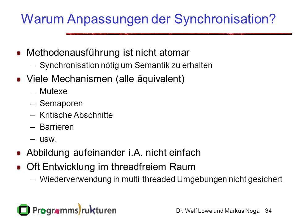 Dr. Welf Löwe und Markus Noga34 Warum Anpassungen der Synchronisation? Methodenausführung ist nicht atomar –Synchronisation nötig um Semantik zu erhal