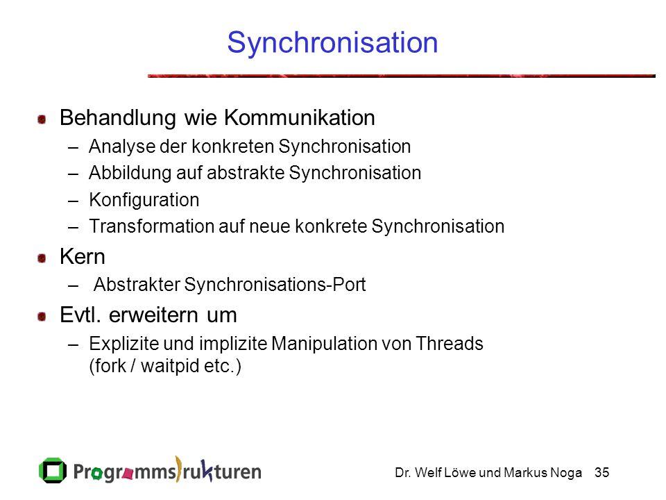 Dr. Welf Löwe und Markus Noga35 Synchronisation Behandlung wie Kommunikation –Analyse der konkreten Synchronisation –Abbildung auf abstrakte Synchroni