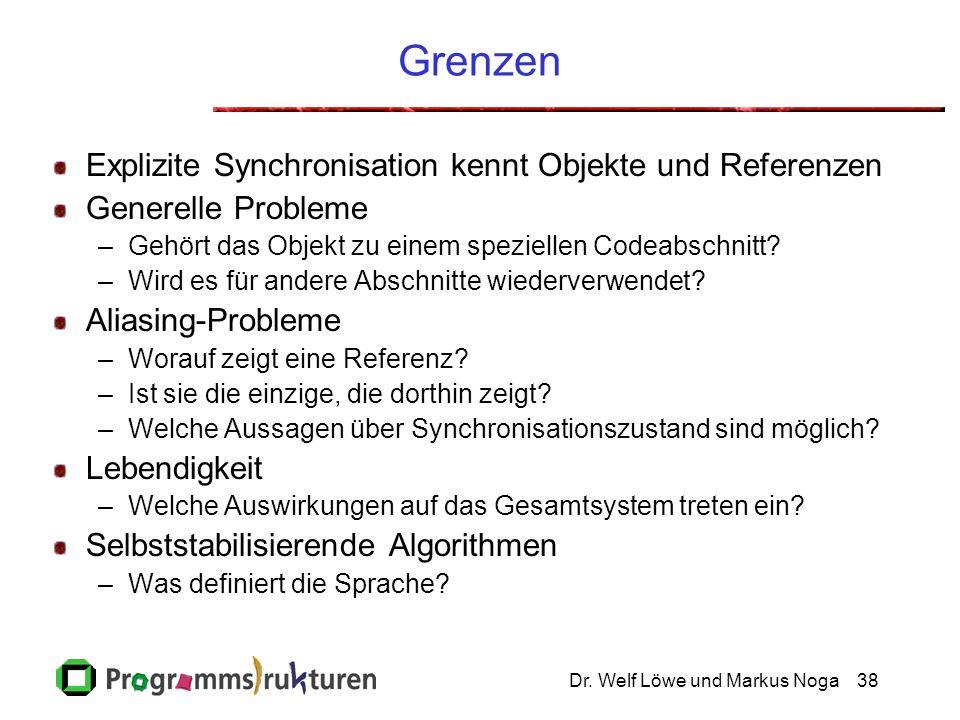 Dr. Welf Löwe und Markus Noga38 Grenzen Explizite Synchronisation kennt Objekte und Referenzen Generelle Probleme –Gehört das Objekt zu einem speziell