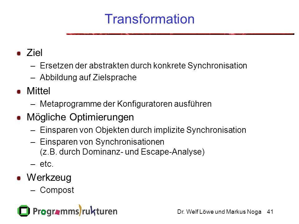 Dr. Welf Löwe und Markus Noga41 Transformation Ziel –Ersetzen der abstrakten durch konkrete Synchronisation –Abbildung auf Zielsprache Mittel –Metapro