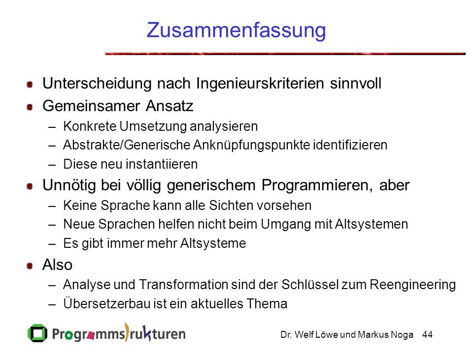Dr. Welf Löwe und Markus Noga44 Zusammenfassung Unterscheidung nach Ingenieurskriterien sinnvoll Gemeinsamer Ansatz –Konkrete Umsetzung analysieren –A