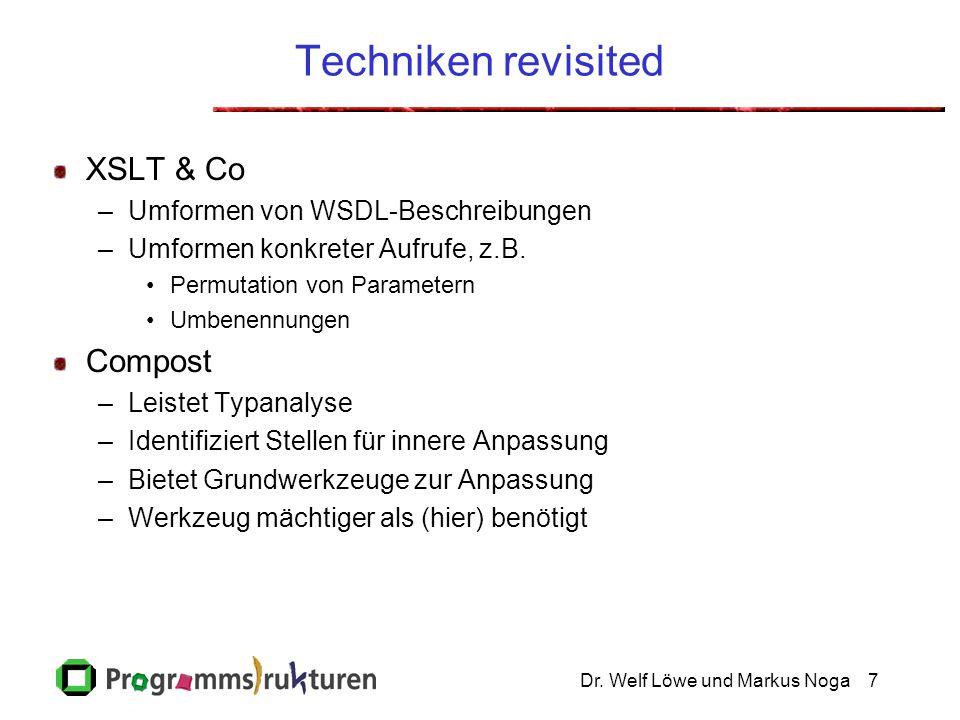 Dr. Welf Löwe und Markus Noga7 Techniken revisited XSLT & Co –Umformen von WSDL-Beschreibungen –Umformen konkreter Aufrufe, z.B. Permutation von Param