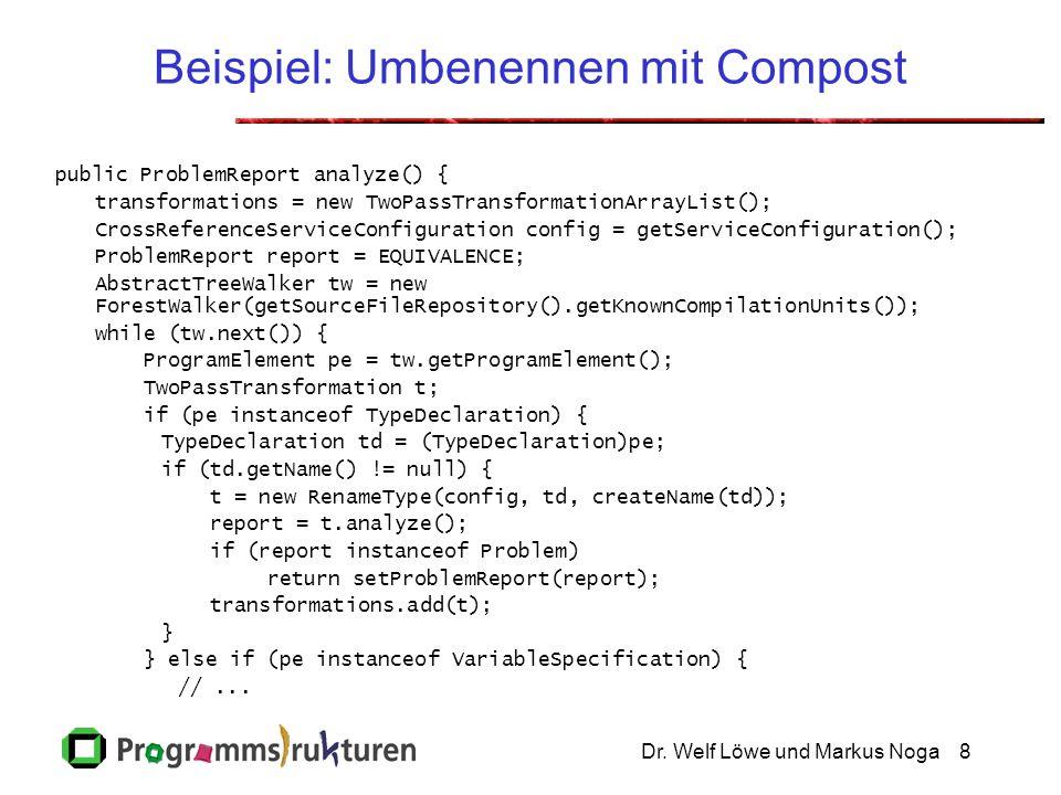 Dr. Welf Löwe und Markus Noga8 Beispiel: Umbenennen mit Compost public ProblemReport analyze() { transformations = new TwoPassTransformationArrayList(