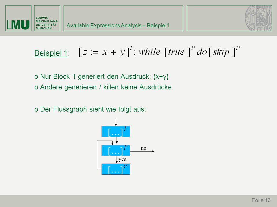 Folie 13 Available Expressions Analysis – Beispiel1 Beispiel 1: o Nur Block 1 generiert den Ausdruck: {x+y} o Andere generieren / killen keine Ausdrücke o Der Flussgraph sieht wie folgt aus: […] no yes