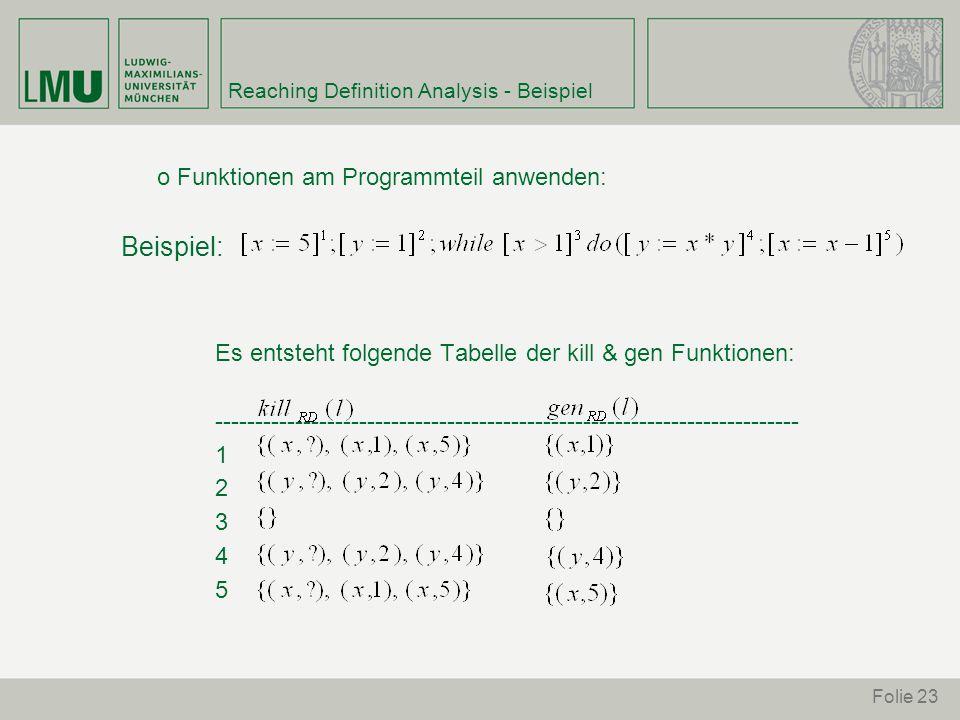 Folie 23 Reaching Definition Analysis - Beispiel o Funktionen am Programmteil anwenden: Beispiel: Es entsteht folgende Tabelle der kill & gen Funktionen: ------------------------------------------------------------------------- 1 2 3 4 5