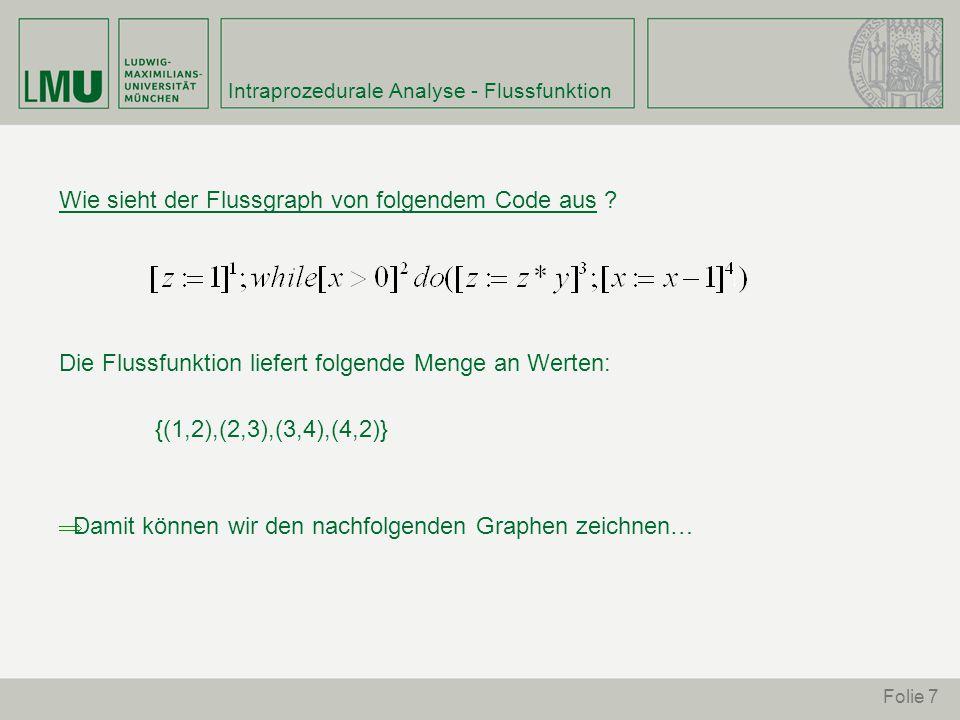 Folie 18 Available Expressions Analysis – Beispiel2 Als Ergebnis erhält man folgende Tabelle: ---------------------------------------------- [x:=a+b] [y:=a*b] [y>a+b] [a:=a+1] [x:=a+b]