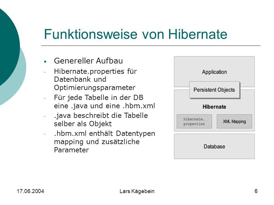 17.06.2004Lars Kägebein6 Funktionsweise von Hibernate Genereller Aufbau - Hibernate.properties für Datenbank und Optimierungsparameter - Für jede Tabe