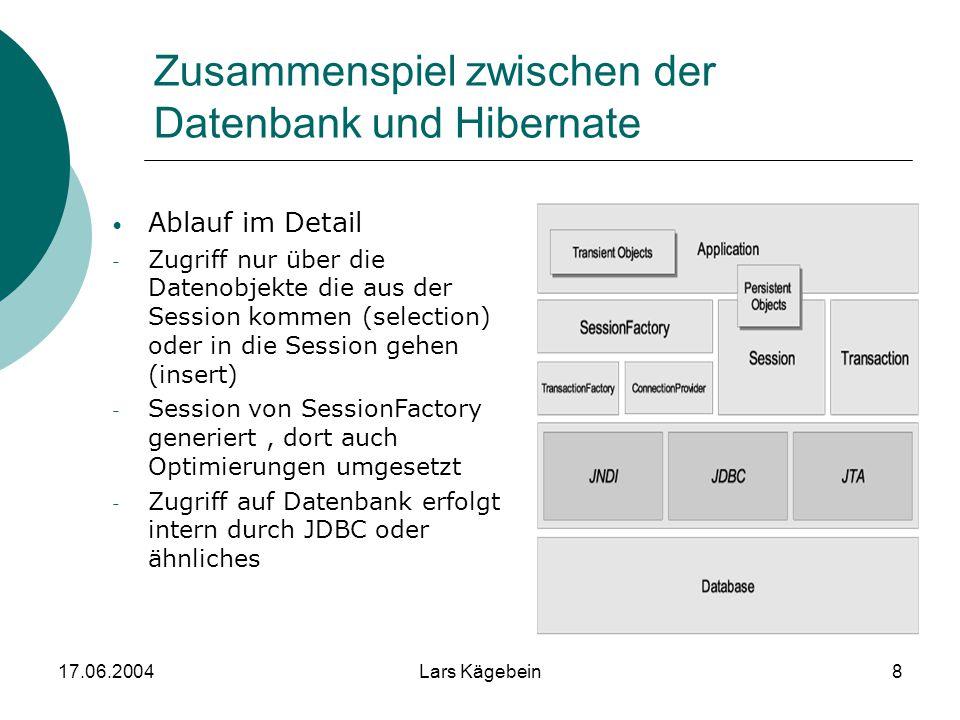 17.06.2004Lars Kägebein8 Zusammenspiel zwischen der Datenbank und Hibernate Ablauf im Detail - Zugriff nur über die Datenobjekte die aus der Session k