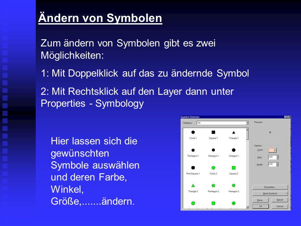Ändern von Symbolen Zum ändern von Symbolen gibt es zwei Möglichkeiten: 1: Mit Doppelklick auf das zu ändernde Symbol 2: Mit Rechtsklick auf den Layer