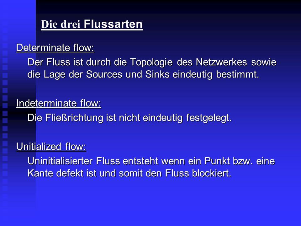 Die drei Flussarten Determinate flow: Der Fluss ist durch die Topologie des Netzwerkes sowie die Lage der Sources und Sinks eindeutig bestimmt. Indete