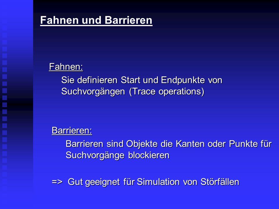 Fahnen und Barrieren Fahnen: Sie definieren Start und Endpunkte von Suchvorgängen (Trace operations) Barrieren: Barrieren sind Objekte die Kanten oder