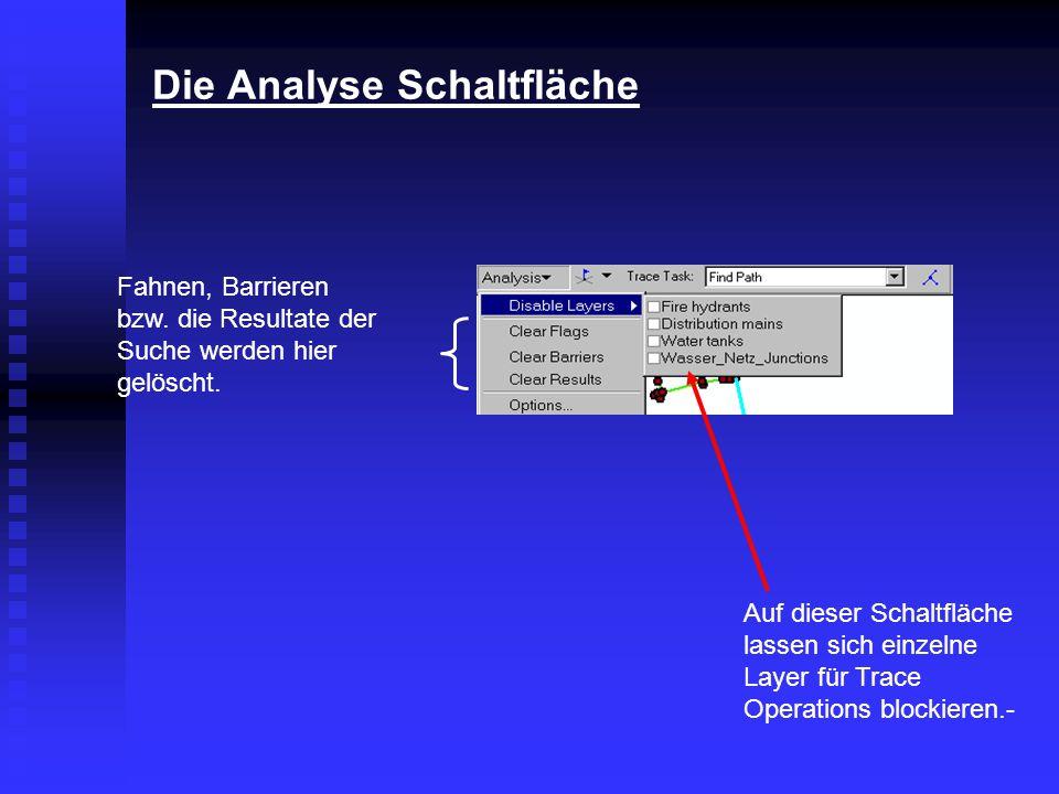 Die Analyse Schaltfläche Fahnen, Barrieren bzw. die Resultate der Suche werden hier gelöscht. Auf dieser Schaltfläche lassen sich einzelne Layer für T
