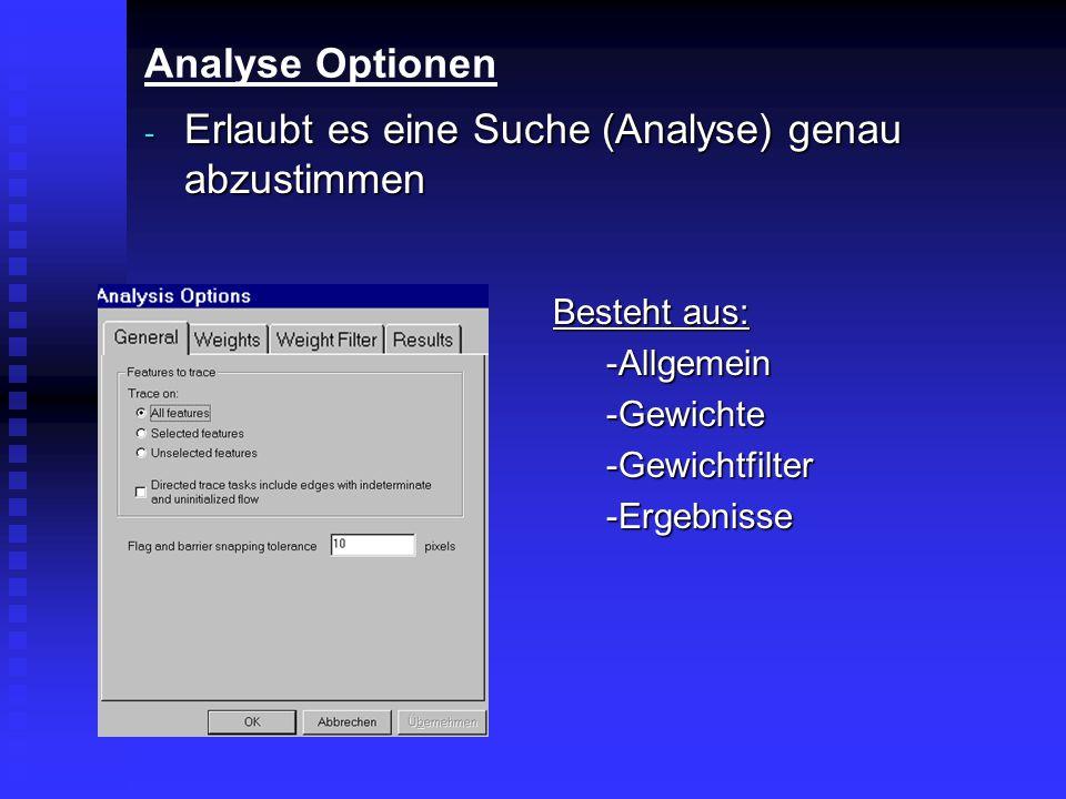 Analyse Optionen - Erlaubt es eine Suche (Analyse) genau abzustimmen Besteht aus: -Allgemein -Gewichte -Gewichtfilter -Ergebnisse