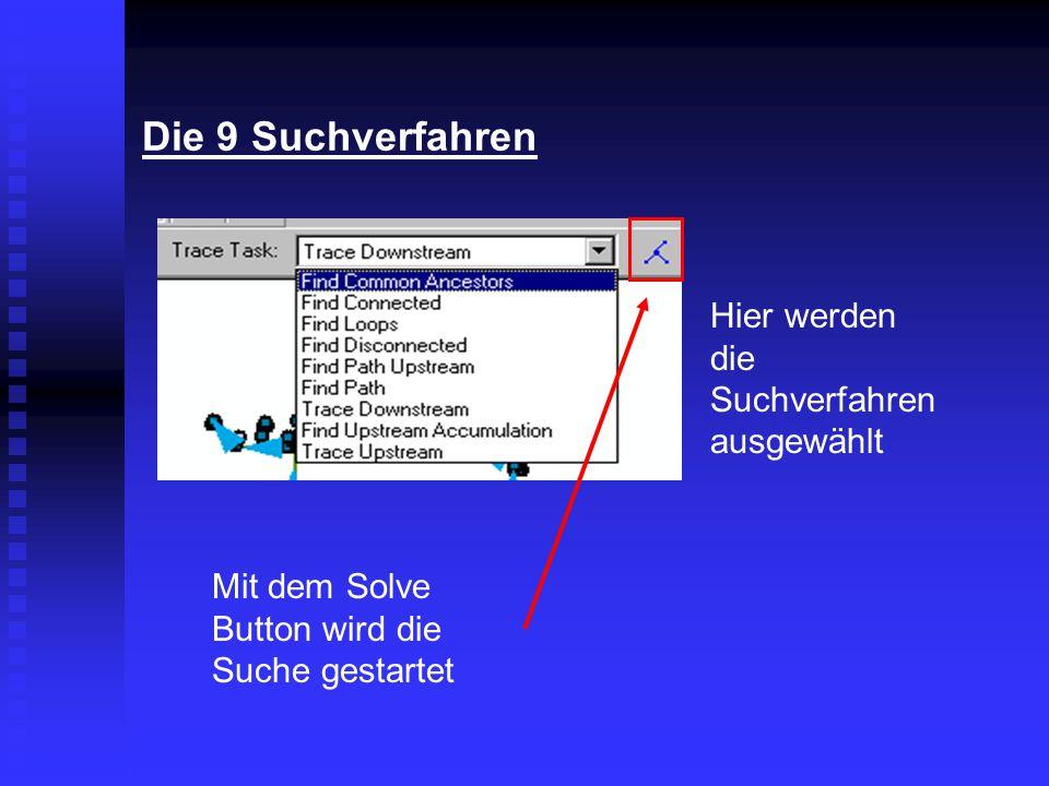 Die 9 Suchverfahren Hier werden die Suchverfahren ausgewählt Mit dem Solve Button wird die Suche gestartet