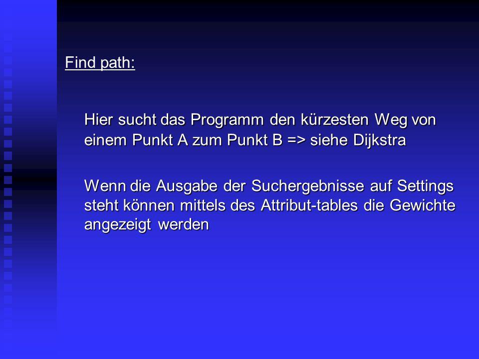 Find path: Hier sucht das Programm den kürzesten Weg von einem Punkt A zum Punkt B => siehe Dijkstra Wenn die Ausgabe der Suchergebnisse auf Settings