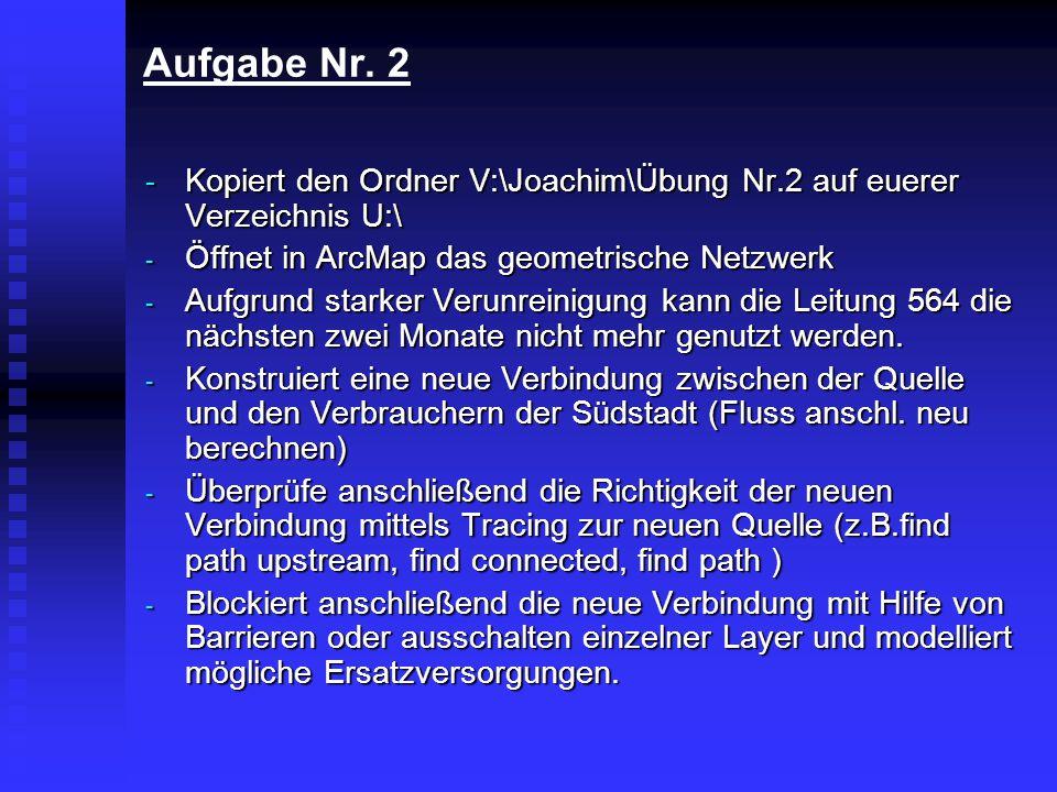 Aufgabe Nr. 2 - Kopiert den Ordner V:\Joachim\Übung Nr.2 auf euerer Verzeichnis U:\ - Öffnet in ArcMap das geometrische Netzwerk - Aufgrund starker Ve
