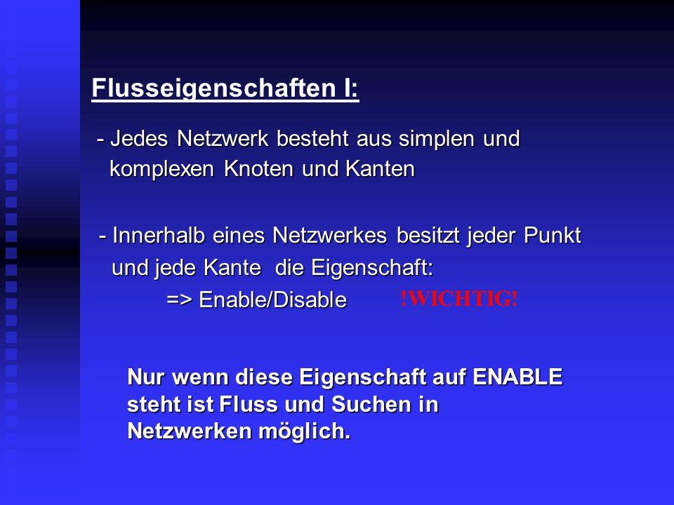 Flusseigenschaften I: - Innerhalb eines Netzwerkes besitzt jeder Punkt und jede Kante die Eigenschaft: und jede Kante die Eigenschaft: => Enable/Disab