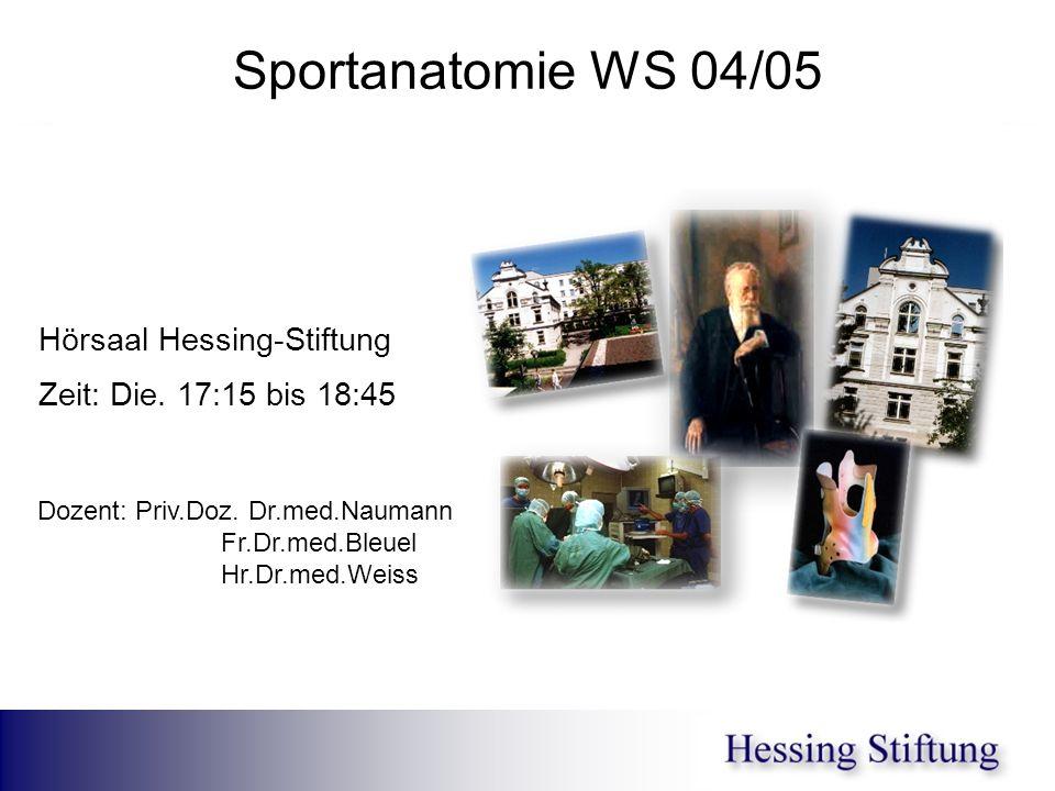 Sportanatomie WS 04/05 Hörsaal Hessing-Stiftung Zeit: Die. 17:15 bis 18:45 Dozent: Priv.Doz. Dr.med.Naumann Fr.Dr.med.Bleuel Hr.Dr.med.Weiss