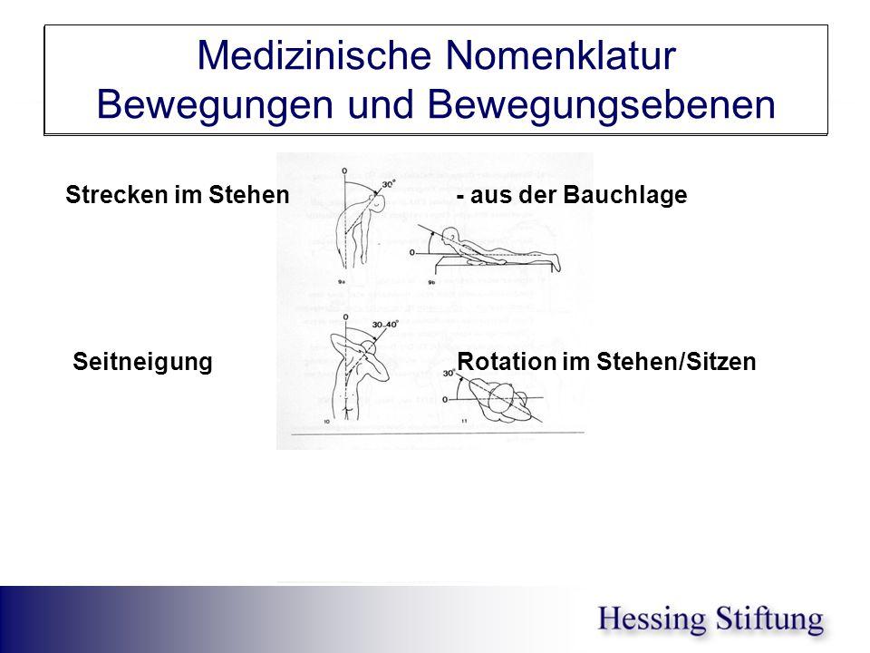 WS Rekl.in BL/ St/ Seitneigung Medizinische Nomenklatur Bewegungen und Bewegungsebenen Strecken im Stehen - aus der Bauchlage Seitneigung Rotation im